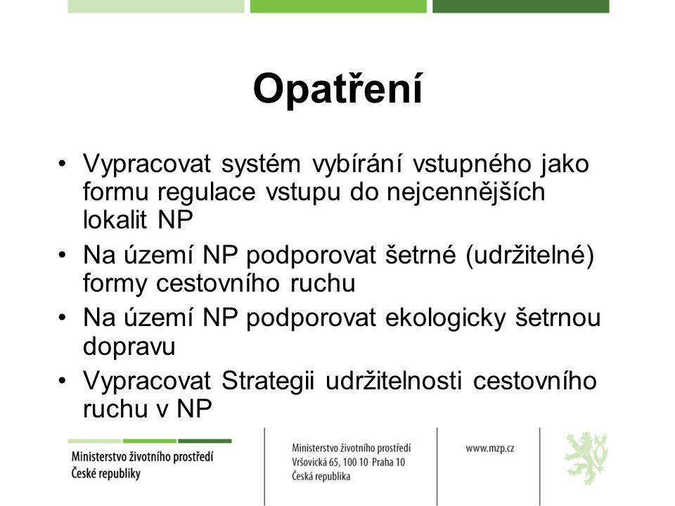 Opatření Vypracovat systém vybírání vstupného jako formu regulace vstupu do nejcennějších lokalit NP Na území NP podporovat šetrné (udržitelné) formy cestovního ruchu Na území NP podporovat ekologicky šetrnou dopravu Vypracovat Strategii udržitelnosti cestovního ruchu v NP
