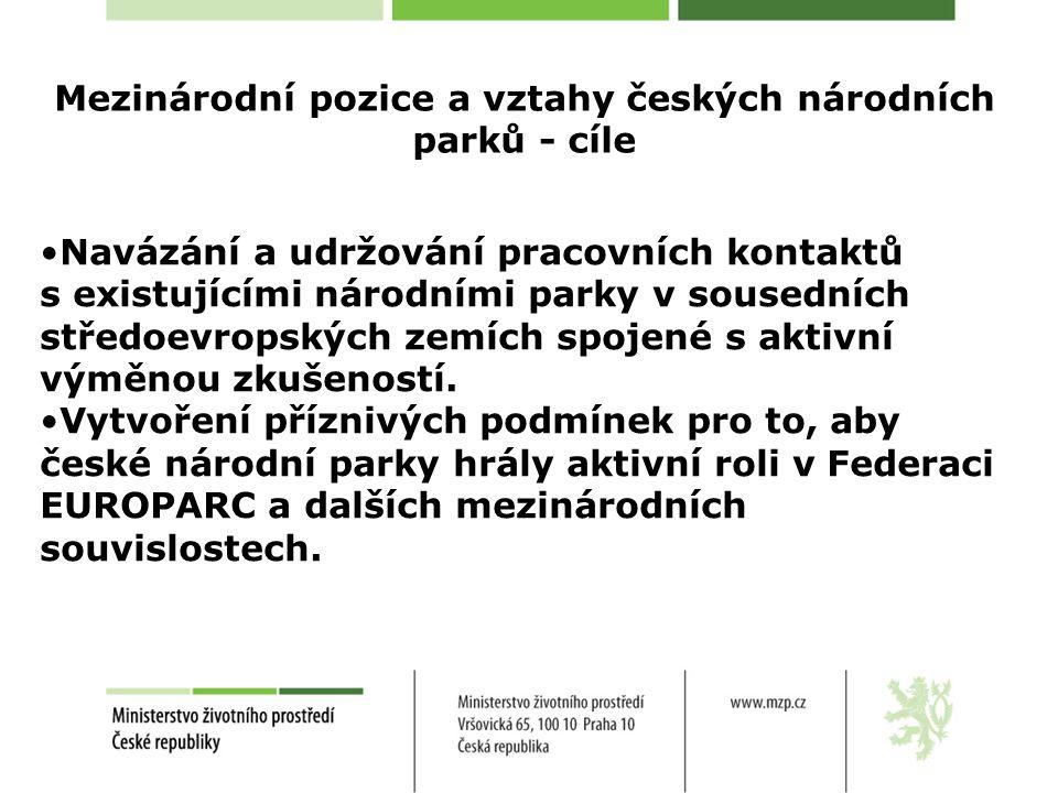 Mezinárodní pozice a vztahy českých národních parků - cíle Navázání a udržování pracovních kontaktů s existujícími národními parky v sousedních středoevropských zemích spojené s aktivní výměnou zkušeností.