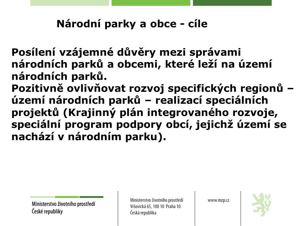 Národní parky a obce - cíle Posílení vzájemné důvěry mezi správami národních parků a obcemi, které leží na území národních parků.