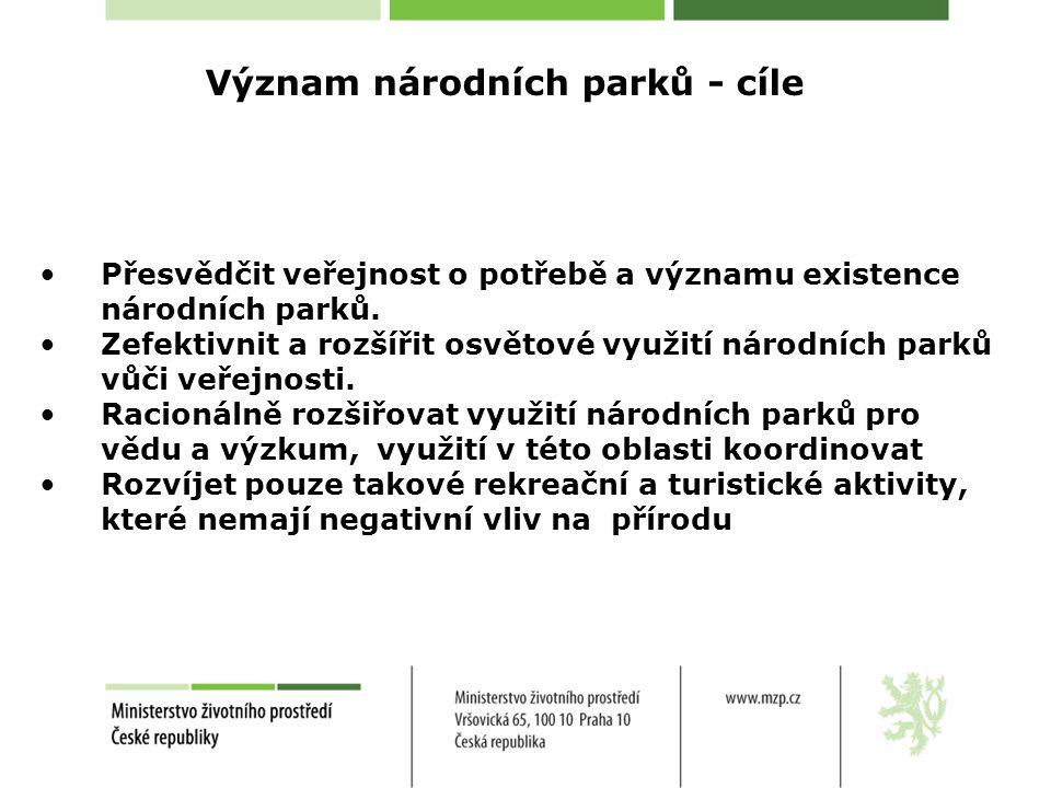 Přesvědčit veřejnost o potřebě a významu existence národních parků.
