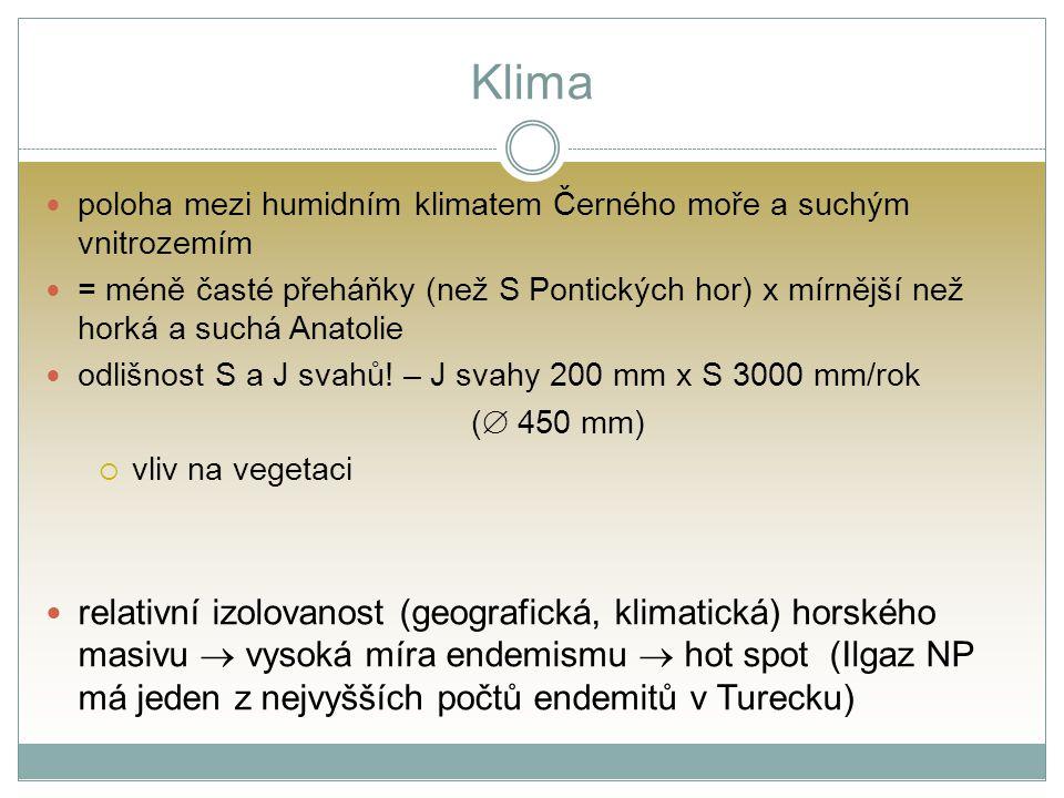 Klima poloha mezi humidním klimatem Černého moře a suchým vnitrozemím = méně časté přeháňky (než S Pontických hor) x mírnější než horká a suchá Anatol