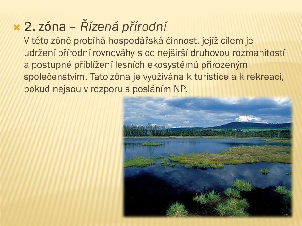  2. zóna – Řízená přírodní V této zóně probíhá hospodářská činnost, jejíž cílem je udržení přírodní rovnováhy s co nejširší druhovou rozmanitostí a p