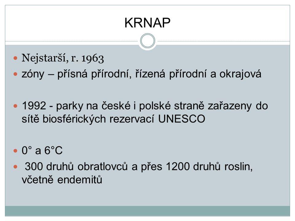 KRNAP Nejstarší, r. 1963 zóny – přísná přírodní, řízená přírodní a okrajová 1992 - parky na české i polské straně zařazeny do sítě biosférických rezer