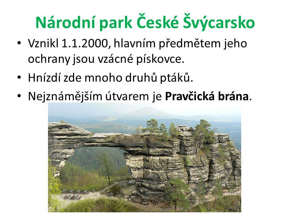 Národní park České Švýcarsko Vznikl 1.1.2000, hlavním předmětem jeho ochrany jsou vzácné pískovce. Hnízdí zde mnoho druhů ptáků. Nejznámějším útvarem