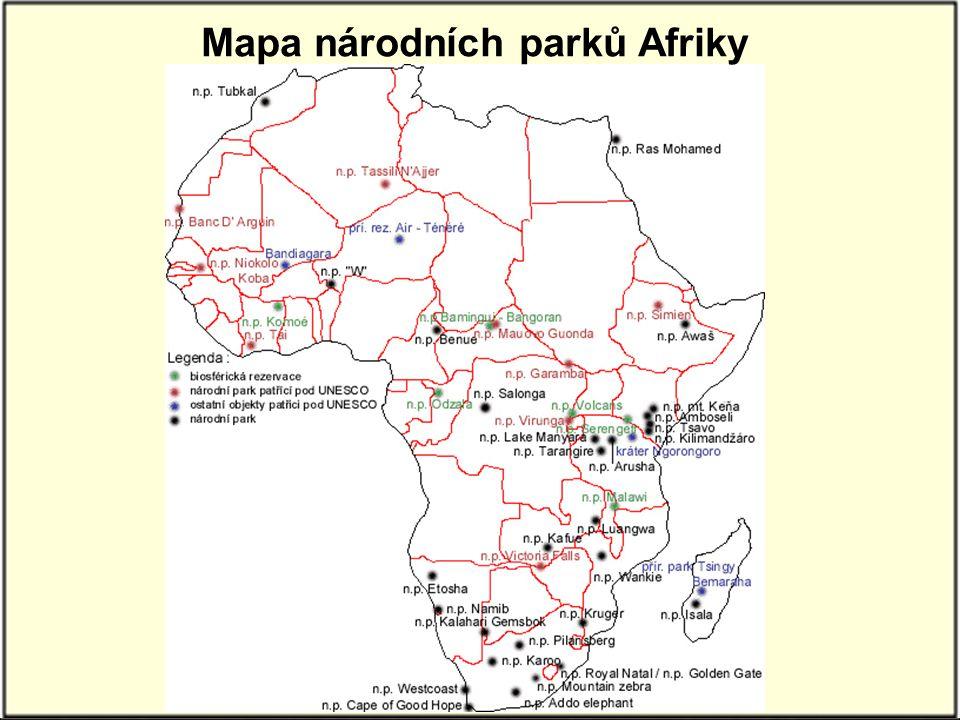 Mapa národních parků Afriky