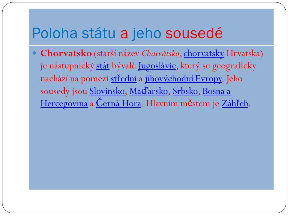 Poloha státu a jeho sousedé Chorvatsko (starší název Charvátsko, chorvatsky Hrvatska) je nástupnický stát bývalé Jugoslávie, který se geograficky nach