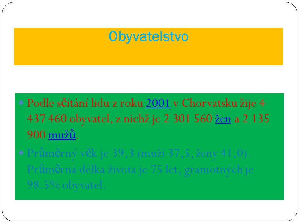 Obyvatelstvo Podle s č ítání lidu z roku 2001 v Chorvatsku žije 4 437 460 obyvatel, z nichž je 2 301 560 žen a 2 135 900 muž ů.2001ženmuž ů Pr ů m ě r