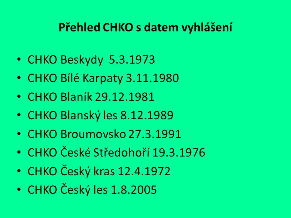 Přehled CHKO s datem vyhlášení CHKO Beskydy 5.3.1973 CHKO Bílé Karpaty 3.11.1980 CHKO Blaník 29.12.1981 CHKO Blanský les 8.12.1989 CHKO Broumovsko 27.
