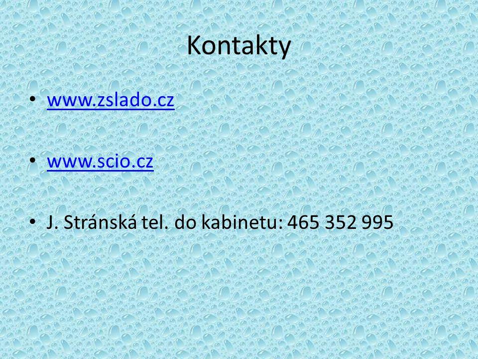 Kontakty www.zslado.cz www.scio.cz J. Stránská tel. do kabinetu: 465 352 995