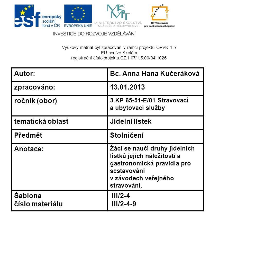 Výukový matriál byl zpracován v rámci projektu OPVK 1.5 EU peníze školám registrační číslo projektu:CZ.1.07/1.5.00/34.1026 Autor:Bc. Anna Hana Kučerák