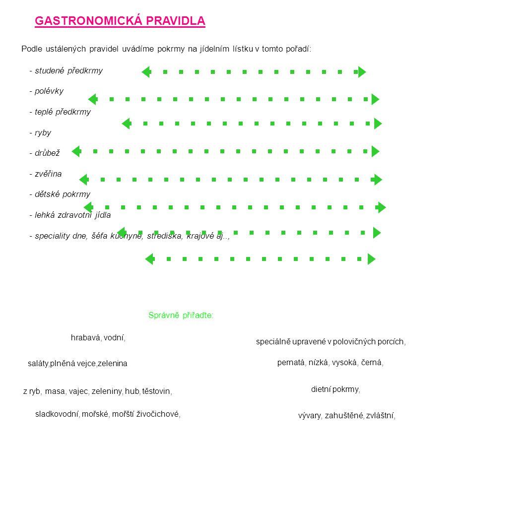 GASTRONOMICKÁ PRAVIDLA Podle ustálených pravidel uvádíme pokrmy na jídelním lístku v tomto pořadí: - studené předkrmy - polévky - teplé předkrmy - ryby - drůbež - zvěřina - dětské pokrmy - lehká zdravotní jídla - speciality dne, šéfa kuchyně, střediska, krajové aj.., saláty,plněná vejce,zelenina Správně přiřaďte: vývary, zahuštěné, zvláštní, z ryb, masa, vajec, zeleniny, hub, těstovin, sladkovodní, mořské, mořští živočichové, hrabavá, vodní, pernatá, nízká, vysoká, černá, speciálně upravené v polovičných porcích, dietní pokrmy,