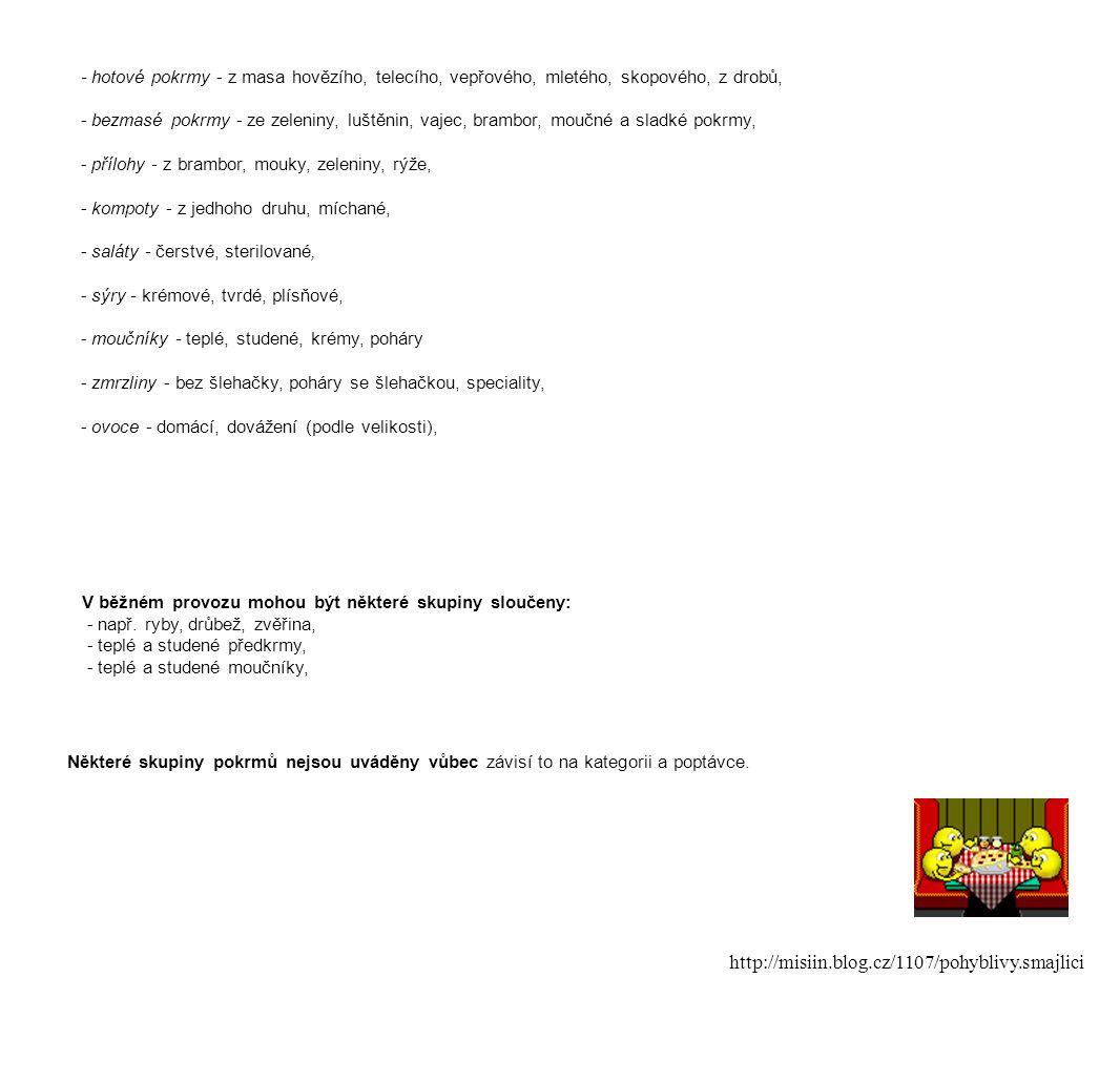 - hotové pokrmy - z masa hovězího, telecího, vepřového, mletého, skopového, z drobů, - bezmasé pokrmy - ze zeleniny, luštěnin, vajec, brambor, moučné