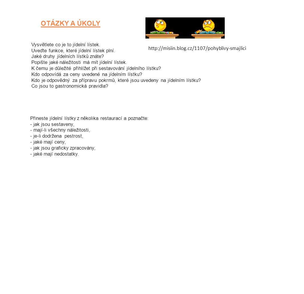 Zdroje https://www.google.cz/search?hl=cs&q=jídelní%20lístky%20vzory&tbs http://www.restauraceusupa.cz/jidelnilistek.php http://www.expoprag.cz/index.php/cs/restaurantexpo/detskyjidelnilistek http://office.microsoft.com/cscz/ http://misiin.blog.cz/1107/pohyblivysmajlici ŠINDELKOVÁ, Alena.