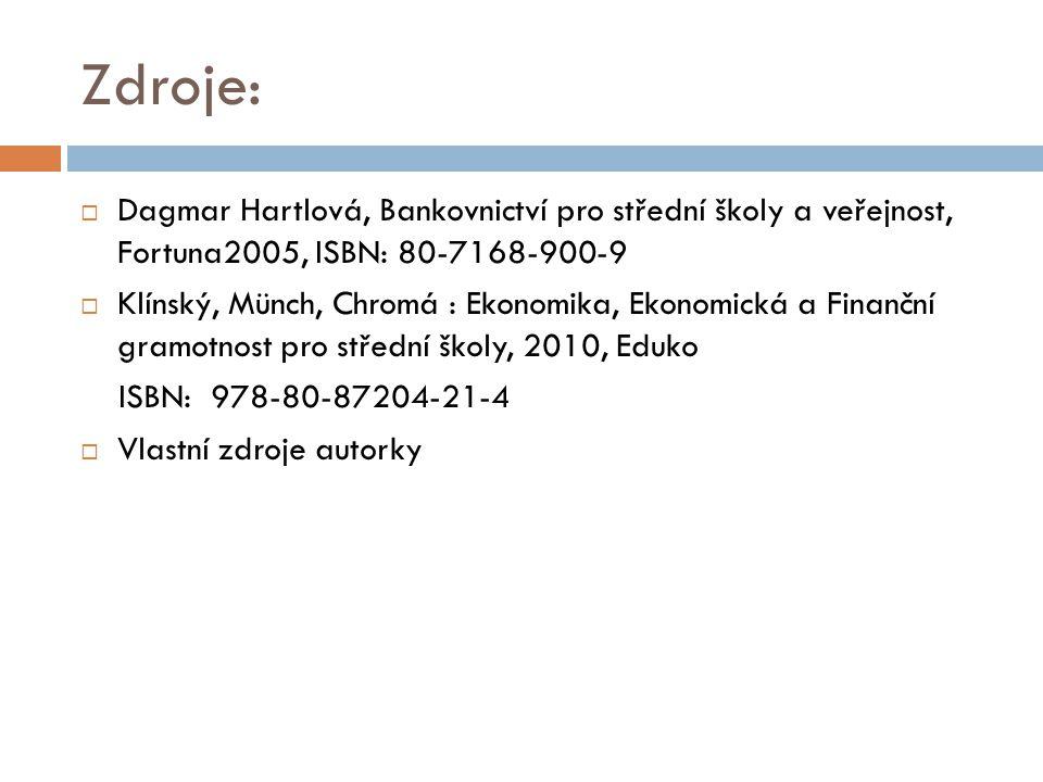 Zdroje:  Dagmar Hartlová, Bankovnictví pro střední školy a veřejnost, Fortuna2005, ISBN: 80-7168-900-9  Klínský, Münch, Chromá : Ekonomika, Ekonomic