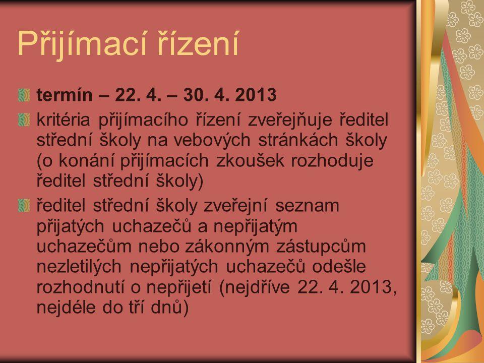 Přijímací řízení termín – 22. 4. – 30. 4.