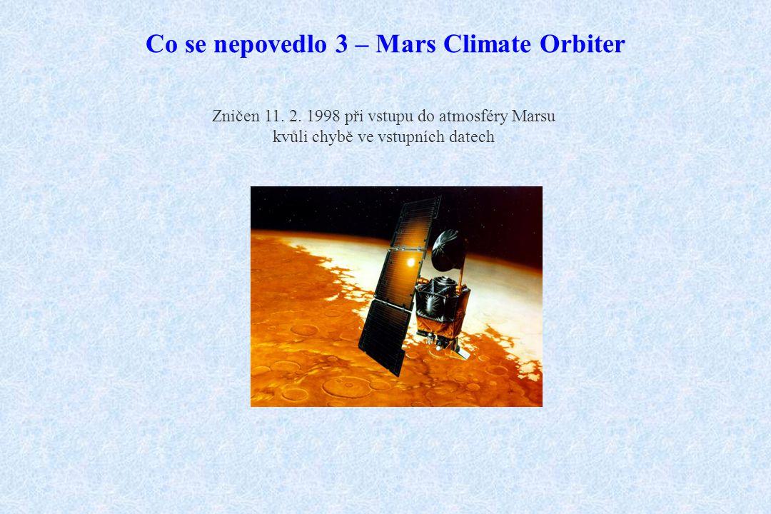 Co se nepovedlo 3 – Mars Climate Orbiter Zničen 11. 2. 1998 při vstupu do atmosféry Marsu kvůli chybě ve vstupních datech