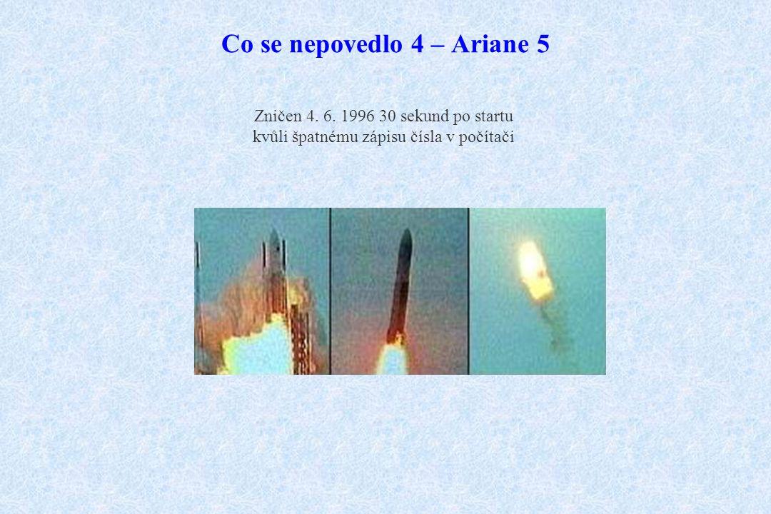 Co se nepovedlo 4 – Ariane 5 Zničen 4. 6. 1996 30 sekund po startu kvůli špatnému zápisu čísla v počítači
