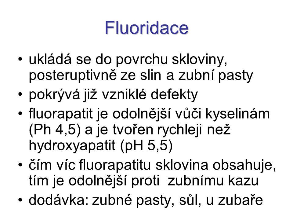 Fluoridace ukládá se do povrchu skloviny, posteruptivně ze slin a zubní pasty pokrývá již vzniklé defekty fluorapatit je odolnější vůči kyselinám (Ph