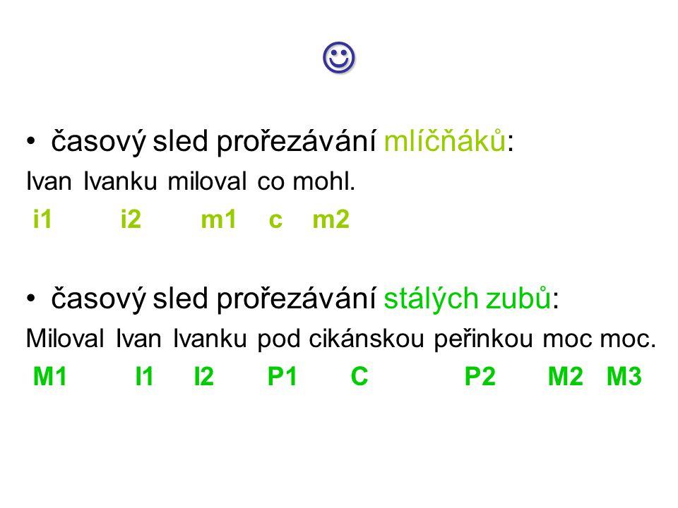 časový sled prořezávání mlíčňáků: Ivan Ivanku miloval co mohl. i1 i2 m1 c m2 časový sled prořezávání stálých zubů: Miloval Ivan Ivanku pod cikánskou p