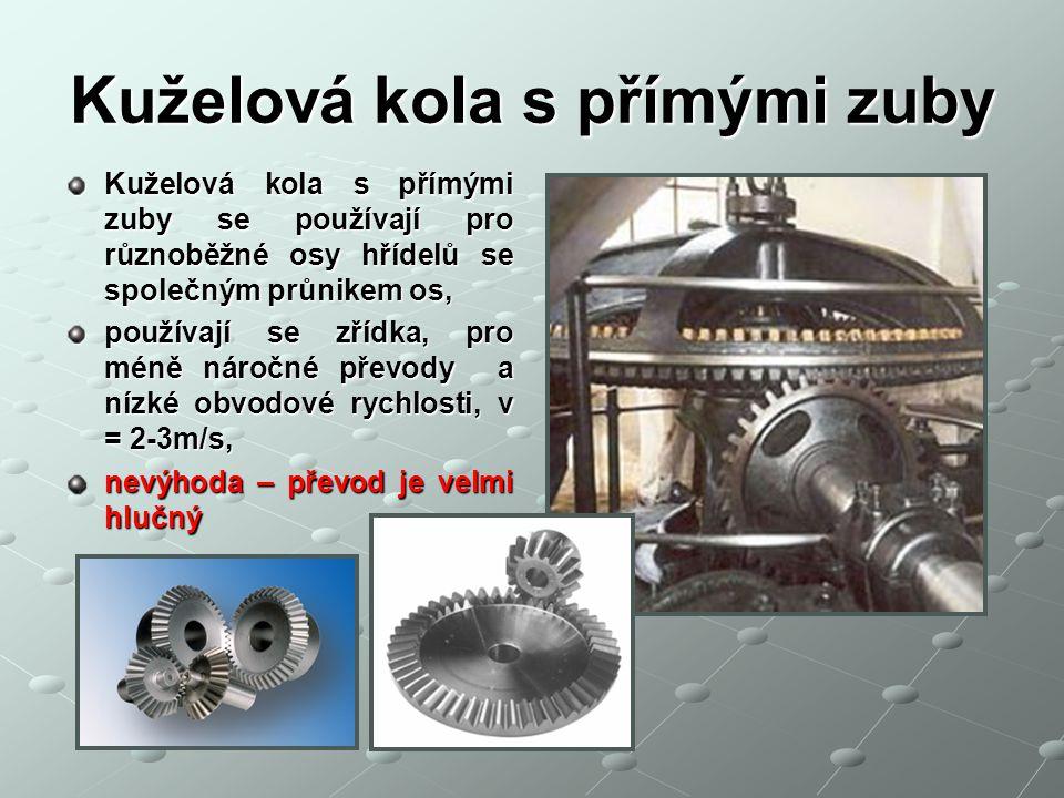 Kuželová kola s přímými zuby Kuželová kola s přímými zuby se používají pro různoběžné osy hřídelů se společným průnikem os, používají se zřídka, pro m