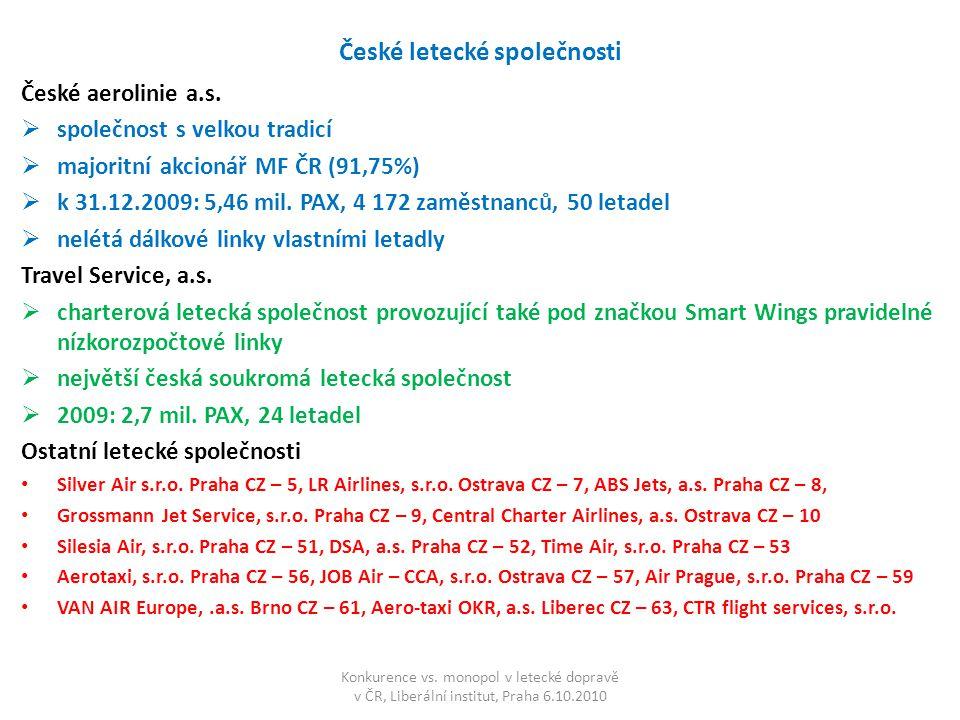 České letecké společnosti České aerolinie a.s.  společnost s velkou tradicí  majoritní akcionář MF ČR (91,75%)  k 31.12.2009: 5,46 mil. PAX, 4 172