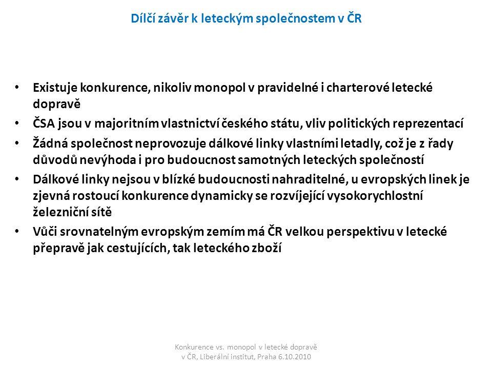 Dílčí závěr k leteckým společnostem v ČR Existuje konkurence, nikoliv monopol v pravidelné i charterové letecké dopravě ČSA jsou v majoritním vlastnic
