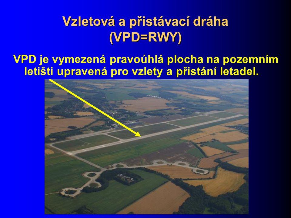 Vzletová a přistávací dráha (VPD=RWY) VPD je vymezená pravoúhlá plocha na pozemním letišti upravená pro vzlety a přistání letadel.