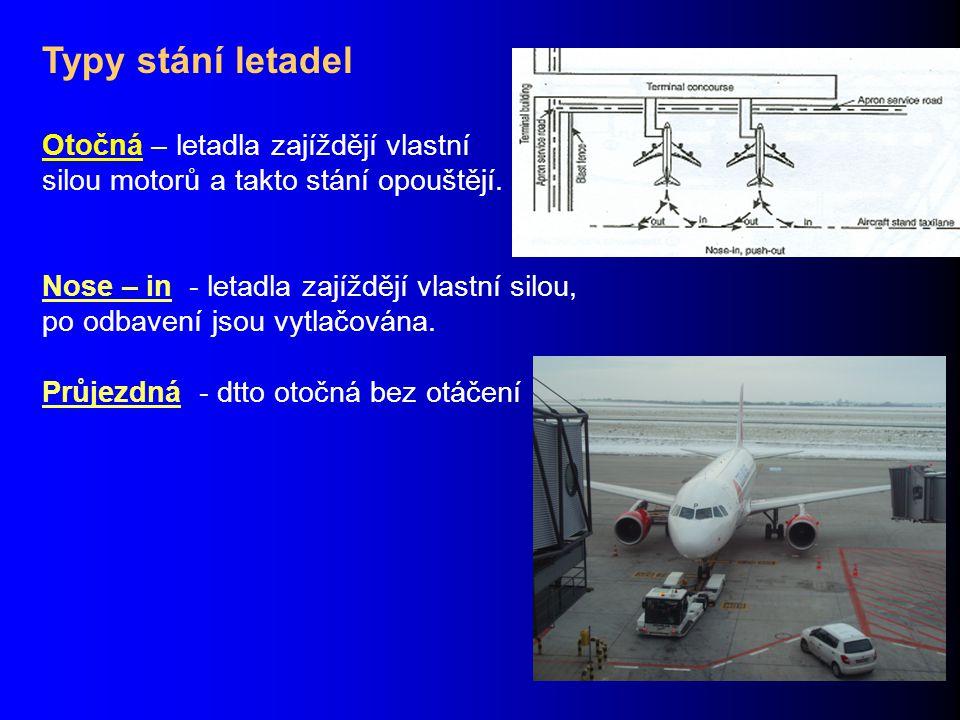 Typy stání letadel Otočná – letadla zajíždějí vlastní silou motorů a takto stání opouštějí. Nose – in - letadla zajíždějí vlastní silou, po odbavení j