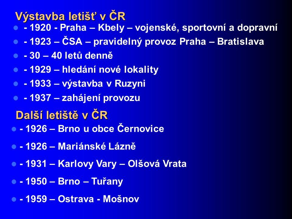 Výstavba letišť v ČR - 1920 - Praha – Kbely – vojenské, sportovní a dopravní - 1923 – ČSA – pravidelný provoz Praha – Bratislava - 30 – 40 letů denně