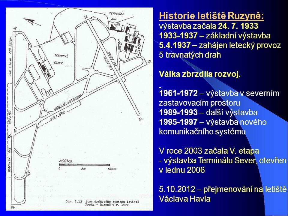 Historie letiště Ruzyně: výstavba začala 24. 7. 1933 1933-1937 – základní výstavba 5.4.1937 – zahájen letecký provoz 5 travnatých drah Válka zbrzdila