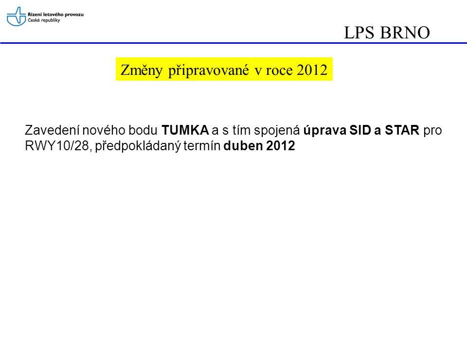 LPS BRNO Změny připravované v roce 2012 Zavedení nového bodu TUMKA a s tím spojená úprava SID a STAR pro RWY10/28, předpokládaný termín duben 2012