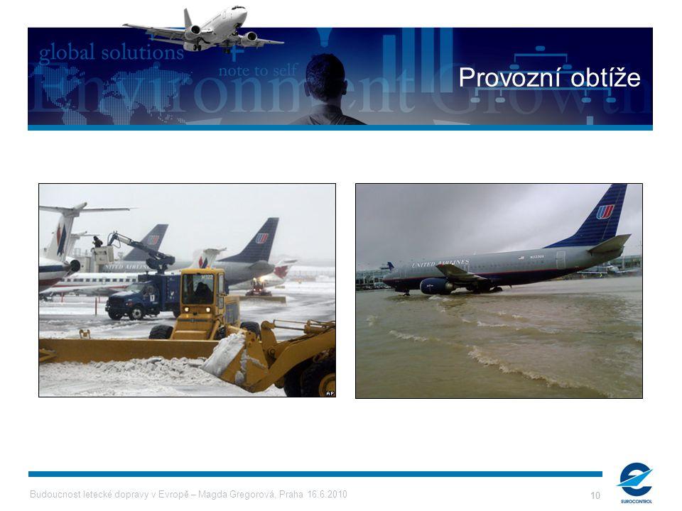 Budoucnost letecké dopravy v Evropě – Magda Gregorová, Praha 16.6.2010 10 Provozní obtíže