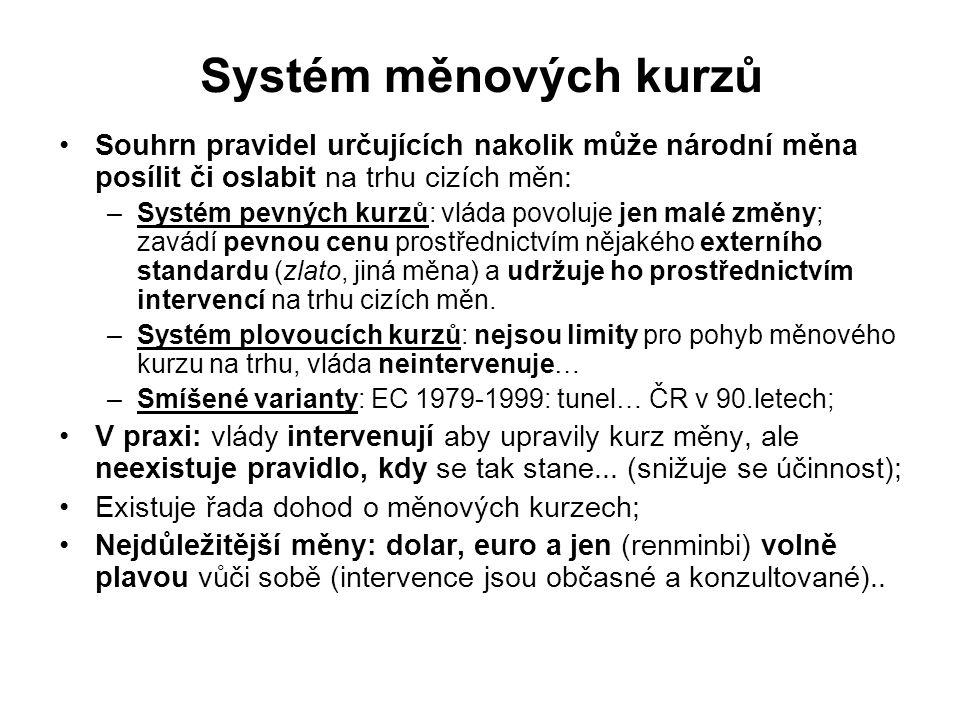 Systém měnových kurzů Souhrn pravidel určujících nakolik může národní měna posílit či oslabit na trhu cizích měn: –Systém pevných kurzů: vláda povoluje jen malé změny; zavádí pevnou cenu prostřednictvím nějakého externího standardu (zlato, jiná měna) a udržuje ho prostřednictvím intervencí na trhu cizích měn.