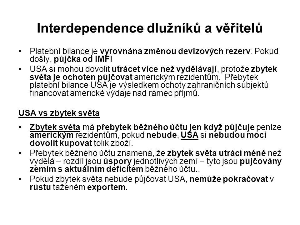 Interdependence dlužníků a věřitelů Platební bilance je vyrovnána změnou devizových rezerv. Pokud došly, půjčka od IMF! USA si mohou dovolit utrácet v