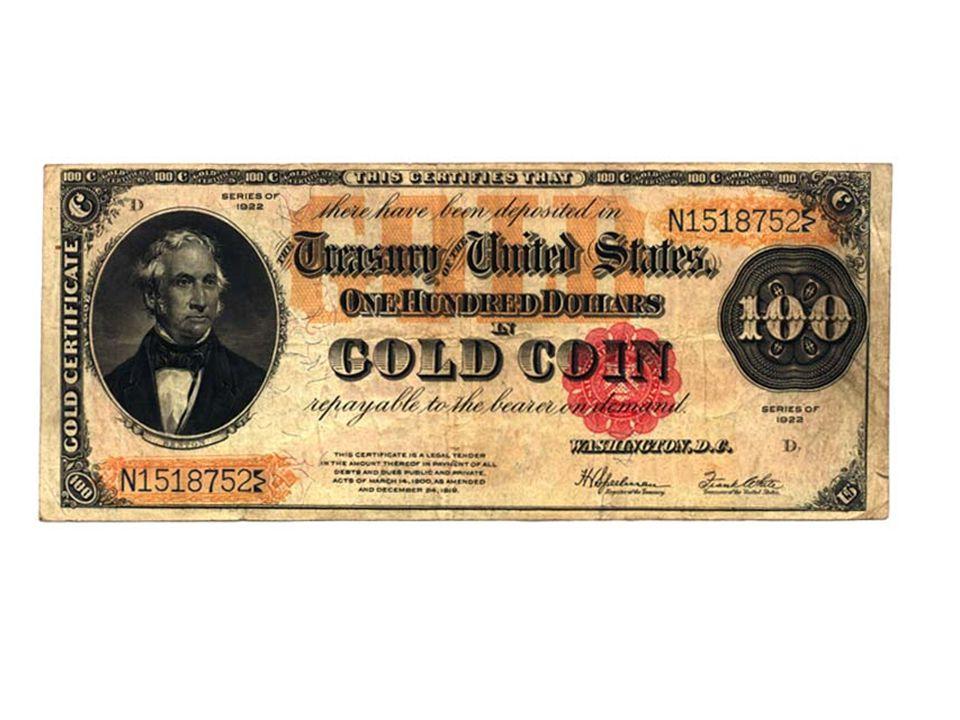 Období mezi světovými válkami Standard zlatého slitku - (GB 1925, Francie 1928) - směnitelnost existuje, ale jen za 12,5kg zlata – prakticky jen pro mezinárodních obchod, už nejsou raženy plnohodnotné mince...