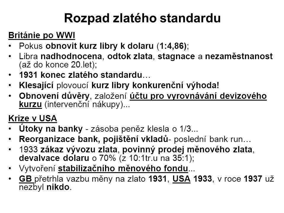 Breton-woodský měnový systém (1945-1971) Potřeba systému pro rychlé zotavení; 1-22.6.1944 – Měnová a finanční konference OSN (B-W systém, IMF, IBRD)… Historická dohoda na mechanizmu regulace mezinárodního měnového systému; Jde o soustavu pevných devizových kurzů založenou na USD, který je pro zahraniční vlády a banky volně směnitelný za zlato (v pevném poměru 35:1 trojská unce); Pevné devizové kurzy mají být udržovány prostřednictvím intervencí centrálních bank na devizových trzích; Kdykoliv se některá měna příliš vzdálila od parity možnost úpravy; Úprava byla možná jen v případě zásadní nerovnováhy platební bilance země a ve shodě s IMF… Systém byl namířen k rozvoji hospodářské spolupráce a podpoře mezinárodního obchodu.
