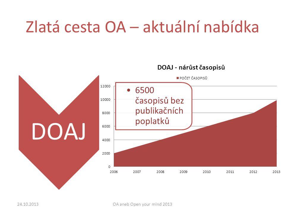 Zlatá cesta OA – aktuální nabídka 24.10.2013OA aneb Open your mind 2013 DOAJ 6500 časopisů bez publikačních poplatků