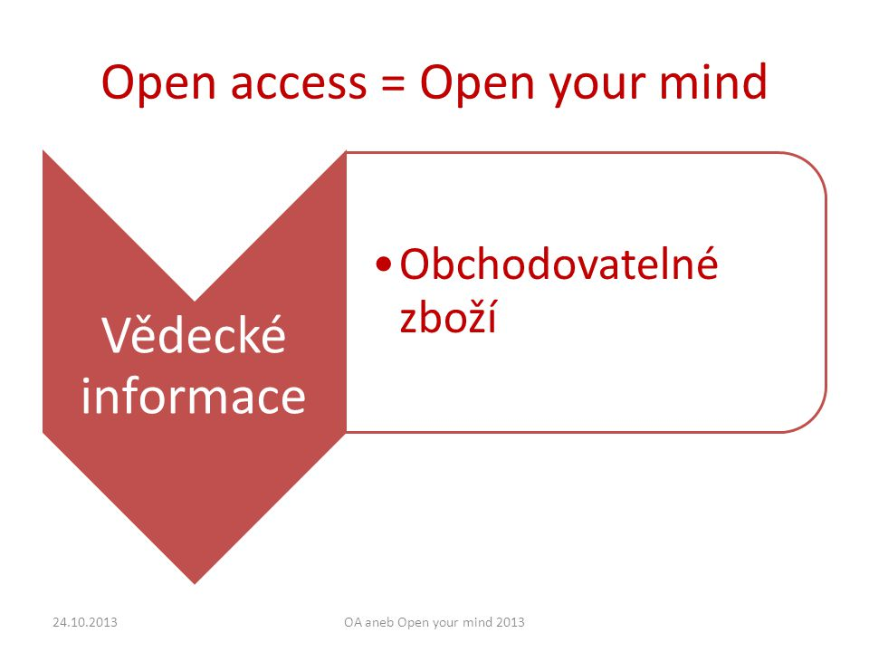 Open access = Open your mind Vědecké informace Obchodovatelné zboží 24.10.2013OA aneb Open your mind 2013