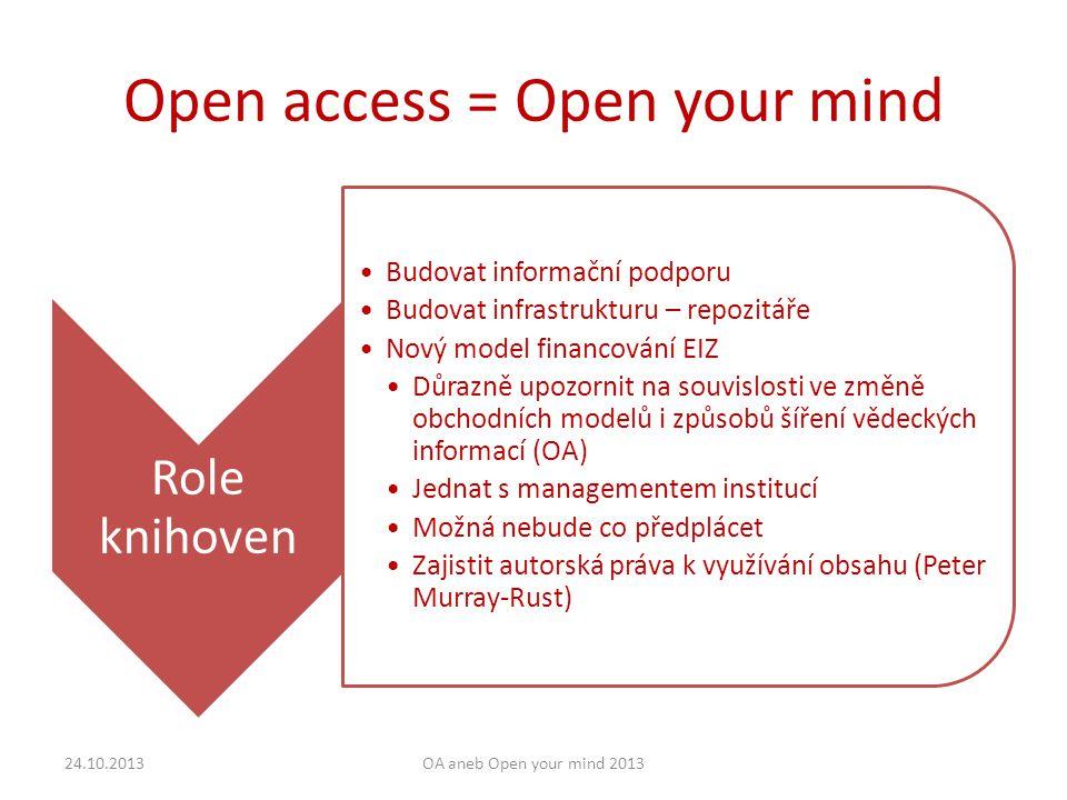 Open access = Open your mind Role knihoven Budovat informační podporu Budovat infrastrukturu – repozitáře Nový model financování EIZ Důrazně upozornit na souvislosti ve změně obchodních modelů i způsobů šíření vědeckých informací (OA) Jednat s managementem institucí Možná nebude co předplácet Zajistit autorská práva k využívání obsahu (Peter Murray-Rust) 24.10.2013OA aneb Open your mind 2013