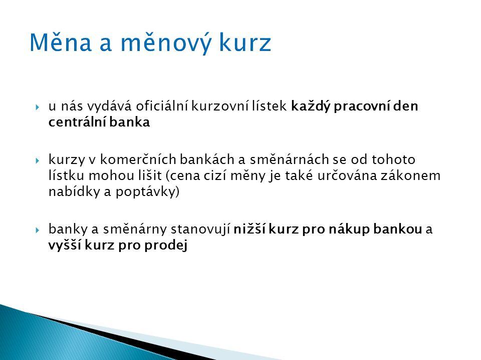  u nás vydává oficiální kurzovní lístek každý pracovní den centrální banka  kurzy v komerčních bankách a směnárnách se od tohoto lístku mohou lišit