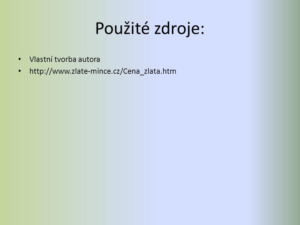 Použité zdroje: Vlastní tvorba autora http://www.zlate-mince.cz/Cena_zlata.htm