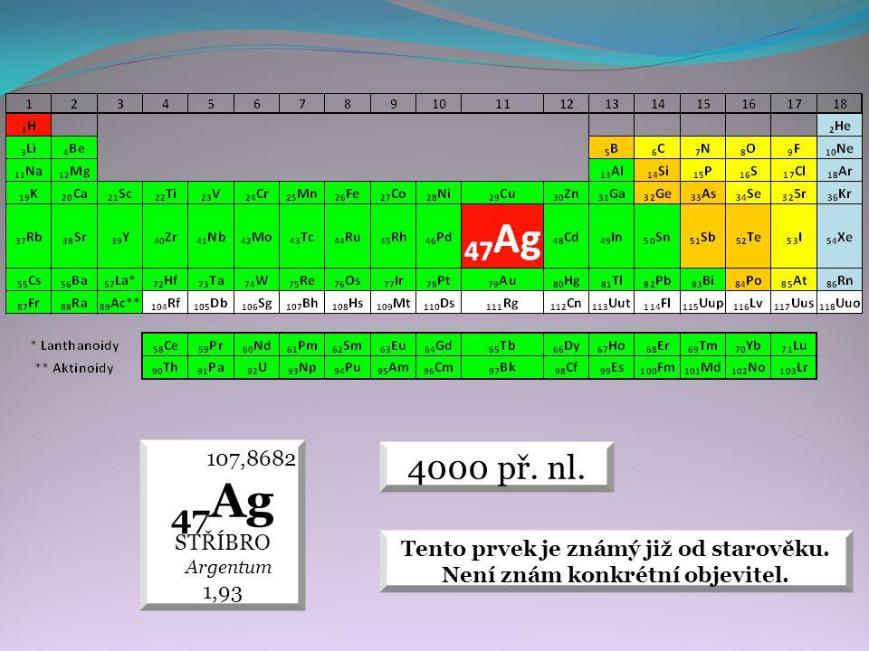 4000 př.nl. 107,8682 47 Ag STŘÍBRO Argentum 1,93 Tento prvek je známý již od starověku.
