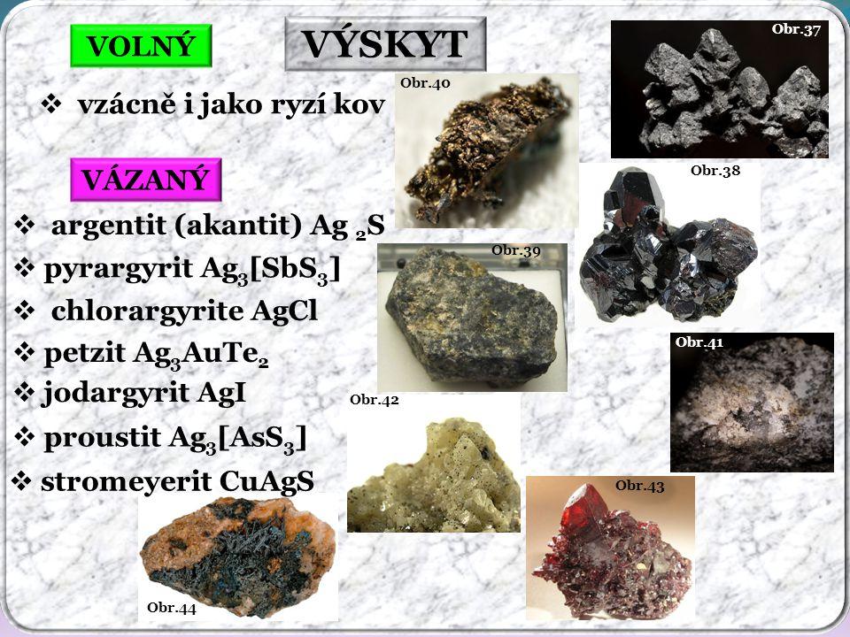 Obr.44 Obr.43 Obr.42 Obr.41 Obr.39 Obr.38 Obr.37 Obr.40 VÝSKYT VOLNÝ  vzácně i jako ryzí kov  petzit Ag 3 AuTe 2  argentit (akantit) Ag 2 S  pyrargyrit Ag 3 [SbS 3 ] VÁZANÝ  chlorargyrite AgCl  stromeyerit CuAgS  proustit Ag 3 [AsS 3 ]  jodargyrit AgI