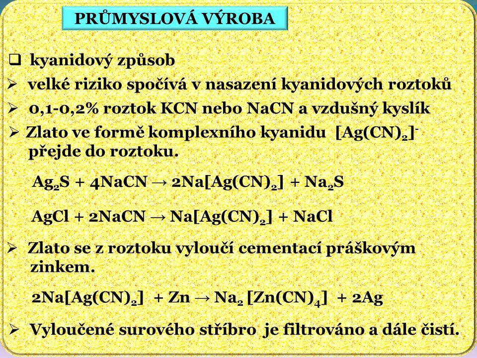 PRŮMYSLOVÁ VÝROBA  kyanidový způsob  velké riziko spočívá v nasazení kyanidových roztoků  0,1-0,2% roztok KCN nebo NaCN a vzdušný kyslík  Zlato ve formě komplexního kyanidu [Ag(CN) 2 ] - přejde do roztoku.