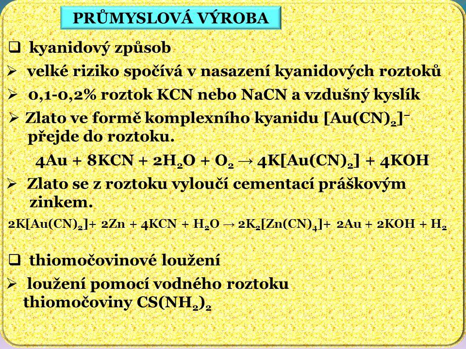 PRŮMYSLOVÁ VÝROBA  kyanidový způsob  velké riziko spočívá v nasazení kyanidových roztoků  0,1-0,2% roztok KCN nebo NaCN a vzdušný kyslík  Zlato ve formě komplexního kyanidu [Au(CN) 2 ] − přejde do roztoku.
