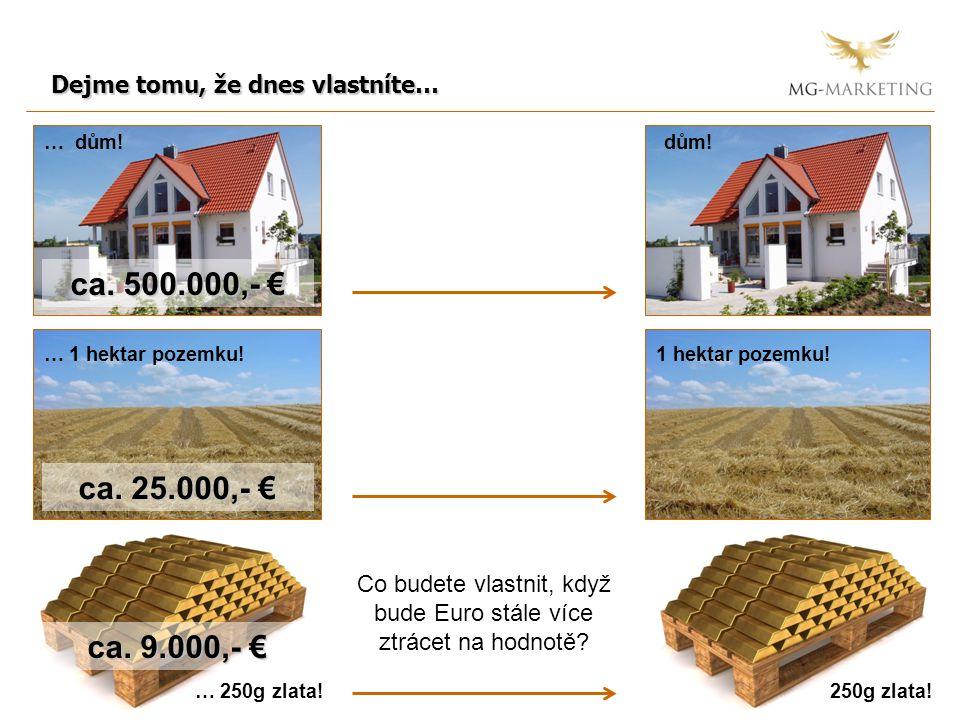 Dejme tomu, že dnes vlastníte… … dům! … 1 hektar pozemku! dům! 1 hektar pozemku! … 250g zlata!250g zlata! Co budete vlastnit, když bude Euro stále víc