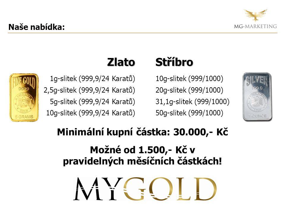 Naše nabídka: Minimální kupní částka: 30.000,- KčStříbro 10g-slitek (999/1000) 20g-slitek (999/1000) 31,1g-slitek (999/1000) 50g-slitek (999/1000)Zlat