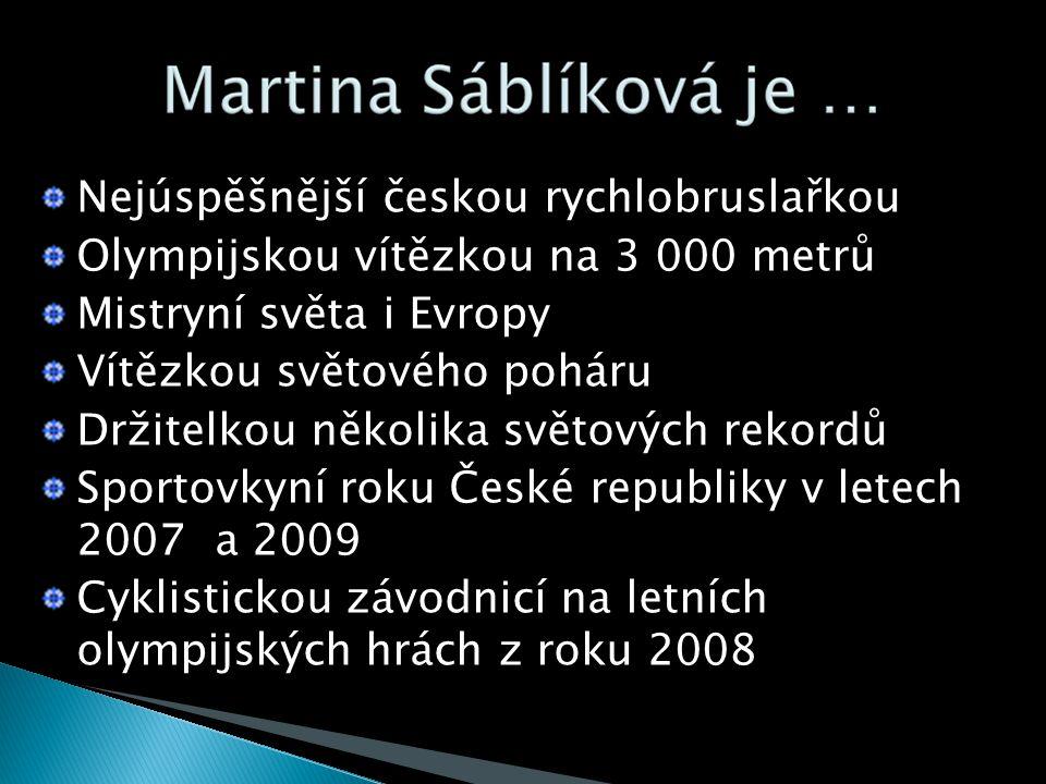 Nejúspěšnější českou rychlobruslařkou Olympijskou vítězkou na 3 000 metrů Mistryní světa i Evropy Vítězkou světového poháru Držitelkou několika světových rekordů Sportovkyní roku České republiky v letech 2007 a 2009 Cyklistickou závodnicí na letních olympijských hrách z roku 2008