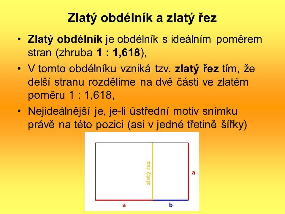 Zlatý obdélník a zlatý řez Zlatý obdélník je obdélník s ideálním poměrem stran (zhruba 1 : 1,618), V tomto obdélníku vzniká tzv. zlatý řez tím, že del