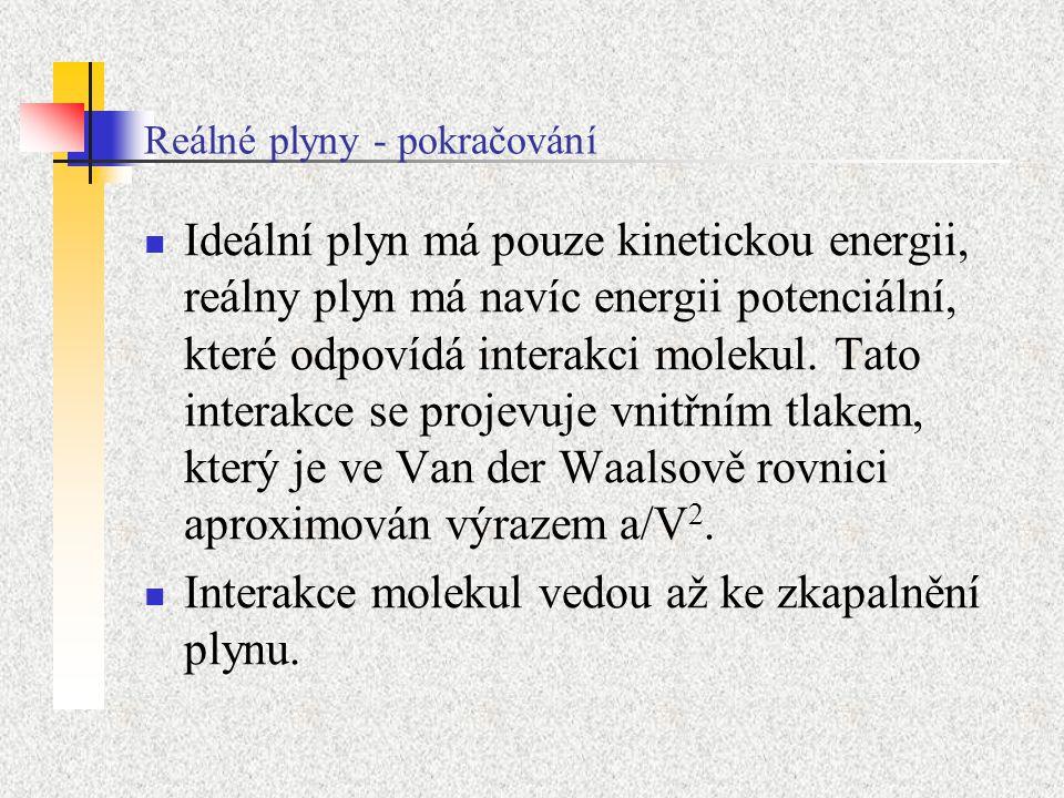 Reálné plyny - pokračování Ideální plyn má pouze kinetickou energii, reálny plyn má navíc energii potenciální, které odpovídá interakci molekul. Tato